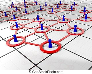 Social Network stylized by blue figurines on a red network