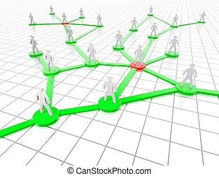 Social Network representate by stylized People on a green...