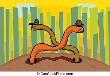 Wily Worms - Pair of happy and sad worms peek from the...