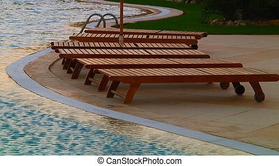 Deckchair near the swimming pool