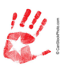 handprint star - hand print star isolated over a white...