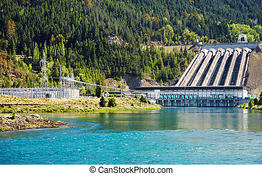 Hydroelectric dam, New Zealand - Lake Benmore hydroelectric...