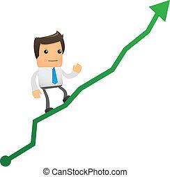office worker climbs up chart