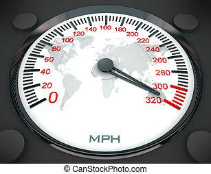 Speedometer and world map