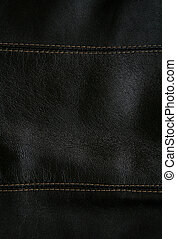Close-up of black leather texture as background - Close-up...