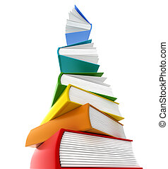 Books tower whants to flay Isolated on white