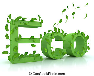 Green word ECO with leaves