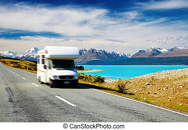 Traveling by motorhome, Mount Cook, New Zealand. Car in...