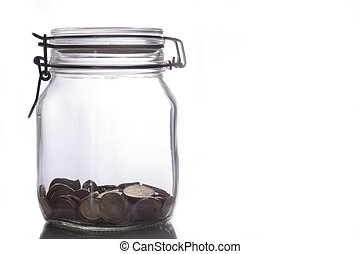 Glass jar with money