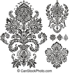 Vector Damask Ornament Set - Set of vector damask ornaments...