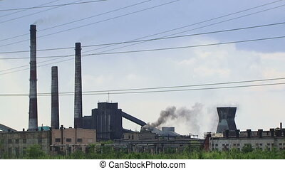 Ecology - Factory pollutes the environment large releases of...
