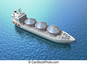 Oil Tanker ship sails in ocean - Oil Tanker ship sails...