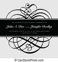Vector Swirl Ornaments and Ribbon Frame - Vector ornate...