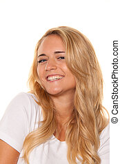Young nice woman Cheerful smile Portrait on a white...