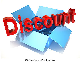 The word discount on a cardboard box isolated on white