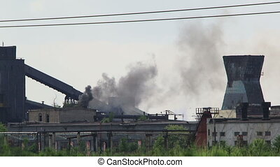 Pollution - Factory pollutes the environment large releases...