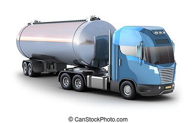 オイル, タンカー, トラック, 隔離された, 白