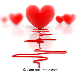 Red heart and cardiogram, isolated - Red heart and...