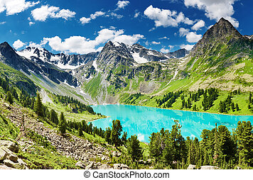 Mountain lake - Beautiful turquoise lake in Altai mountains