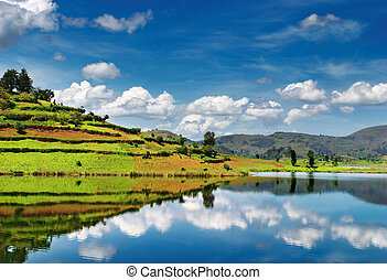 Bunyonyi Lake in Uganda - Beautiful mountain lake Bunyonyi...