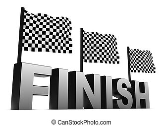 Racing Flags and Finish isolated on white
