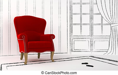 Interior project - red seat