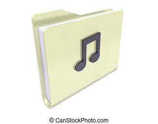 sound folder icon - sound folder paper icon on white...