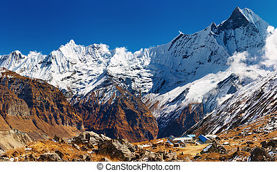 Annapurna base camp, Nepal - Mount Machhapuchhre and...