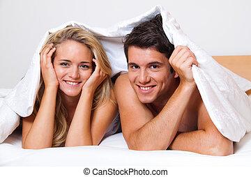 par, tem, divertimento, cama, risada, alegria, eroticism