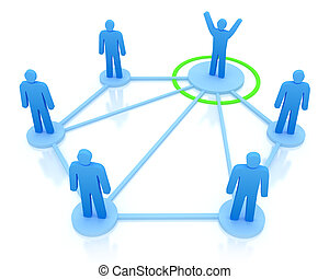 Leader is managing his work team. Network concept.