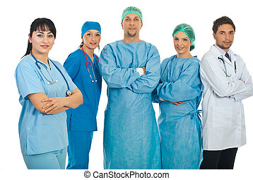 Friendly physician woman and her team - Friendly physician...