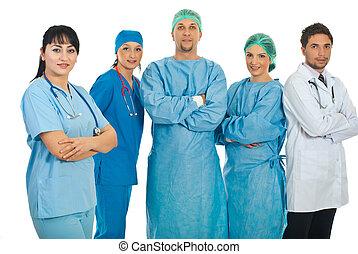 amistoso, médico, mujer, ella, equipo