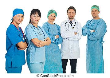 equipo, salud, cuidado, trabajadores