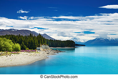 Pukaki lake, New Zealand - Pukaki lake and Southern Alps,...