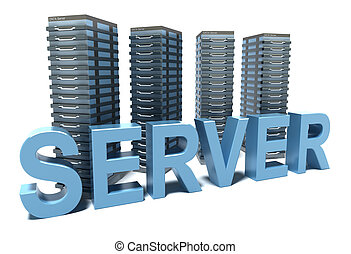 Server word in front of grey Servers