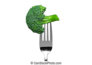 Broccoli on a fork isolated on white - Photo of broccoli on...