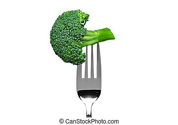bróculi, tenedor, aislado, blanco