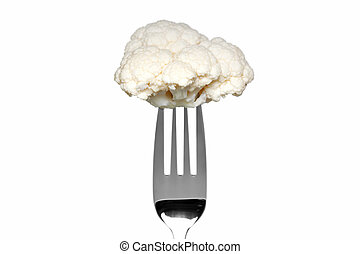 Cauliflower on a fork isolated on white