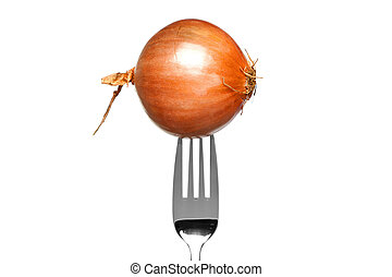 Brown onion on a fork isolated on white