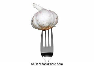 Whole garlic on a fork isolated on white