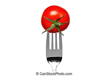 Tomato on a fork isolated on white - Photo of a tomato on a...