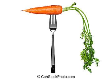 zanahoria, tenedor, aislado, blanco
