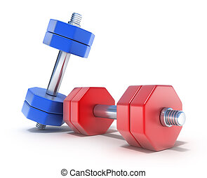 Colorful Dumbbells on the white