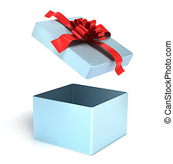 Opened empty gift box, isolated - Opened empty gift box...