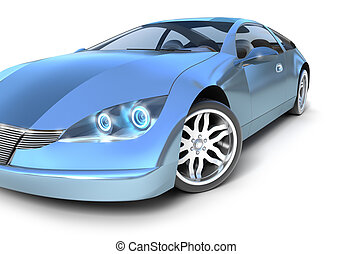 Blue sport car . My own design