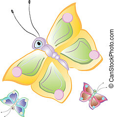 Cartoon butterflies - Funny cartoon tropical butterfly....