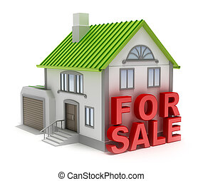 Home for sale 3D concept isolated on white