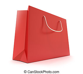 Red Shopping Bag Clean cover Isolated on white
