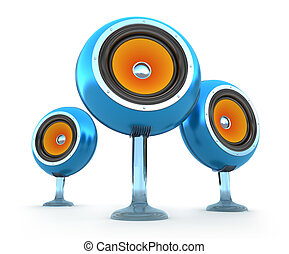 Modern speakers isolated on white.