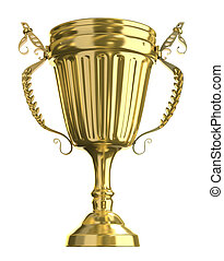Golden trophy cup, isolated
